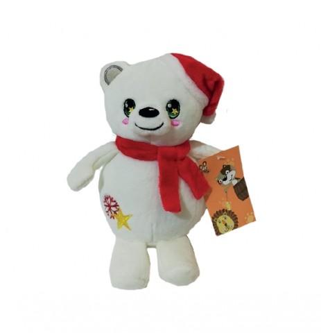 Игрушка мягкая белый мишка с красной шапкой, 15 см