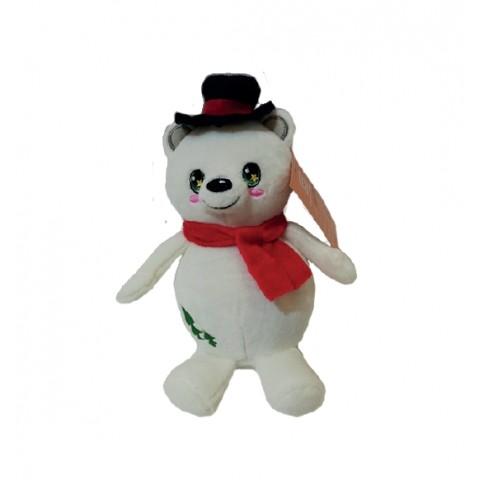 Игрушка мягкая белый мишка с черной шапкой, 15 см