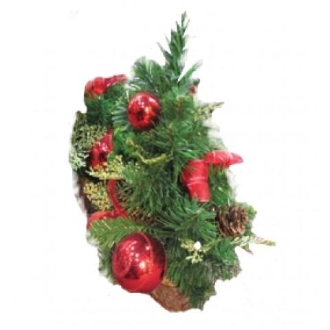 Новогоднее украшение ель с красными шарами, 45 см