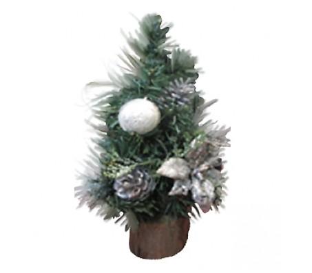 Новогоднее украшение ель с серебряными бантиками, 30 см