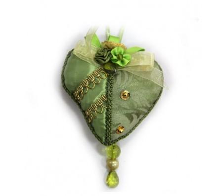 """Украшение """"Сердце"""".Цвет золотисто-зеленый."""