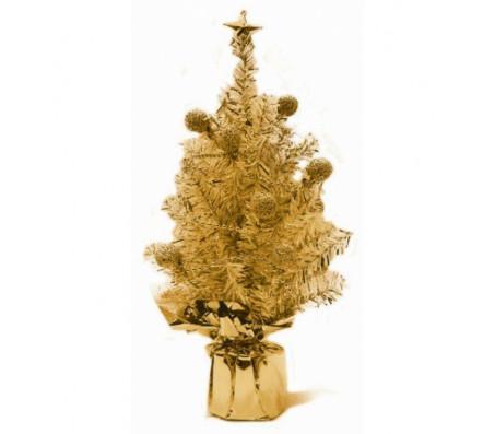 Елка новогодняя с украшением, цвет-золотистый