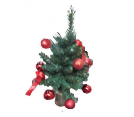 Новогоднее украшение ель с красными шарами, 30 см