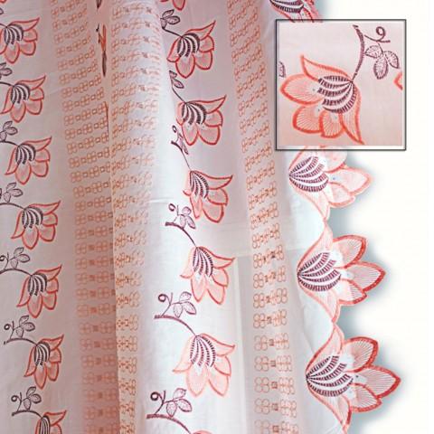 Ткань персиковая вышитая